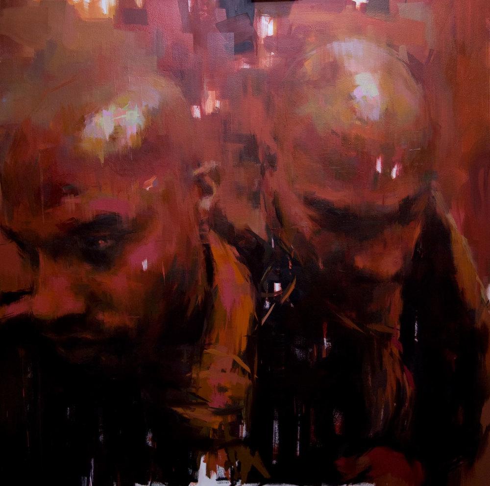 "Red Haze . 2009, 59"" x 59"", (150 x 150 cm) oil on canvas"