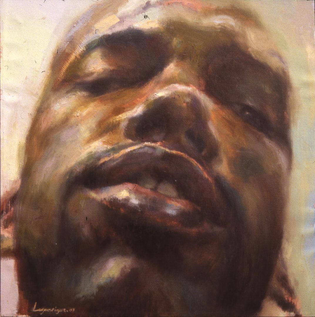 "Self portrait . 2003, 22"" x 22"" (56 x 56 cm) oil on canvas"