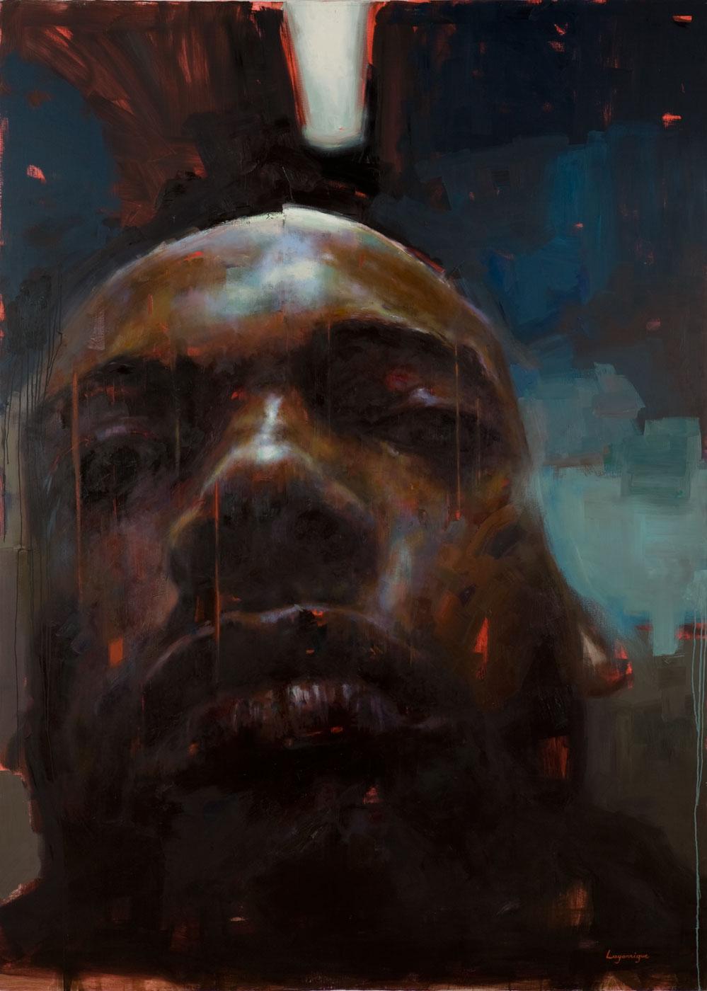 "Self Portrait under Neon Light . 2006, 79"" x 99"", (200 x 250 cm) oil on canvas"