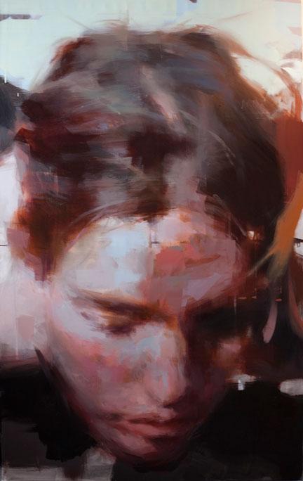 """Clem Fixing Hair . 2014, 60"""" x 40"""", (150 x 100 cm) oil on linen"""