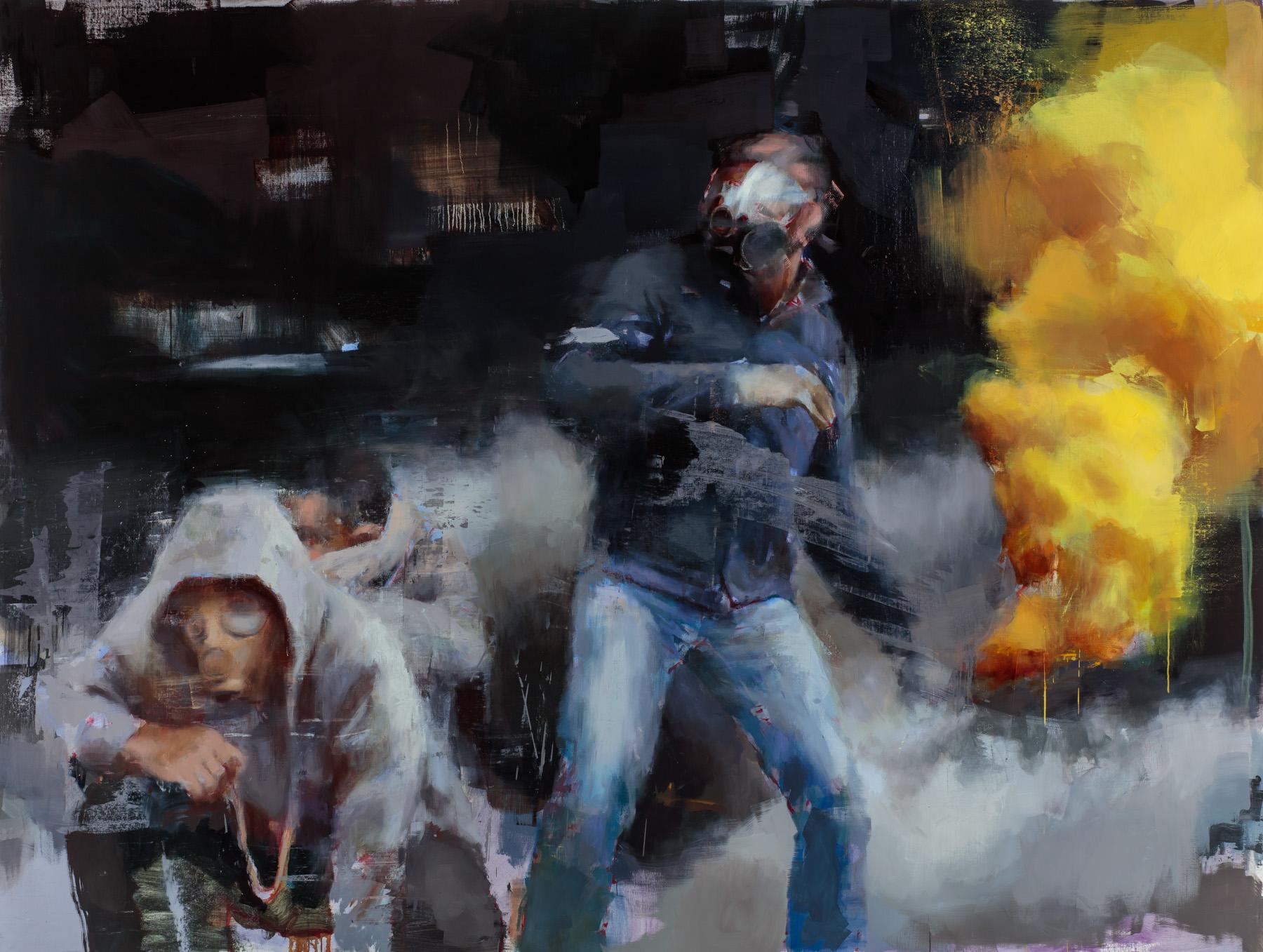 """"""" Besieged""""  2017, 99"""" x 75"""" (250 x 190 cm), oil on linen."""