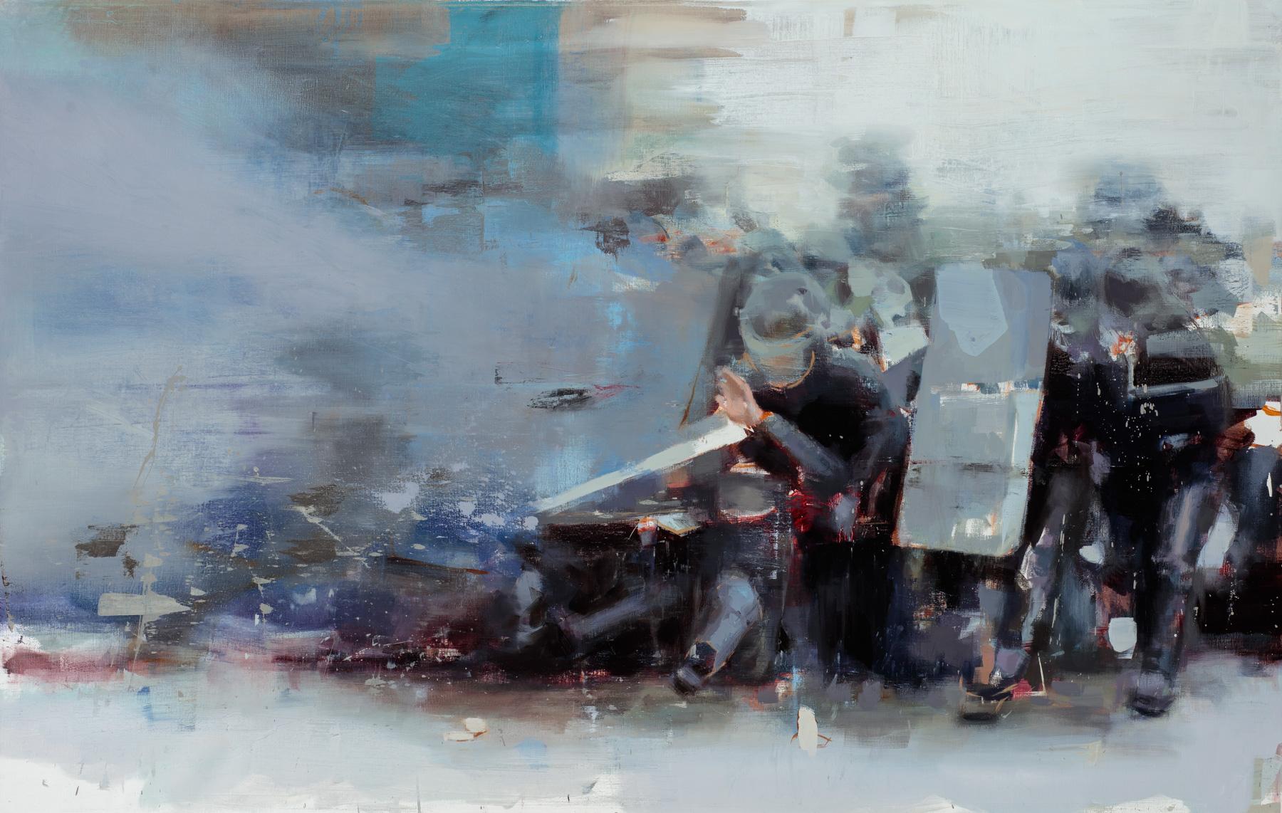 """"""" Esthetic of a Melee""""  2017, 59"""" x 39"""" (152 x 97.5 cm), oil on linen."""