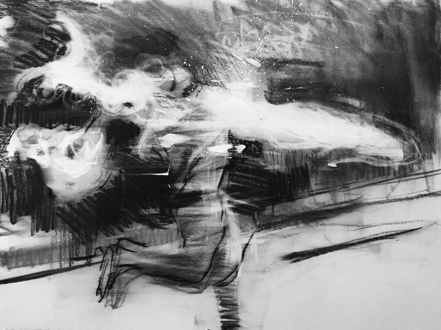 """""""Situation # 3""""  2015, 30"""" x 22"""" (76 x 57 cm), charcoal on paper."""