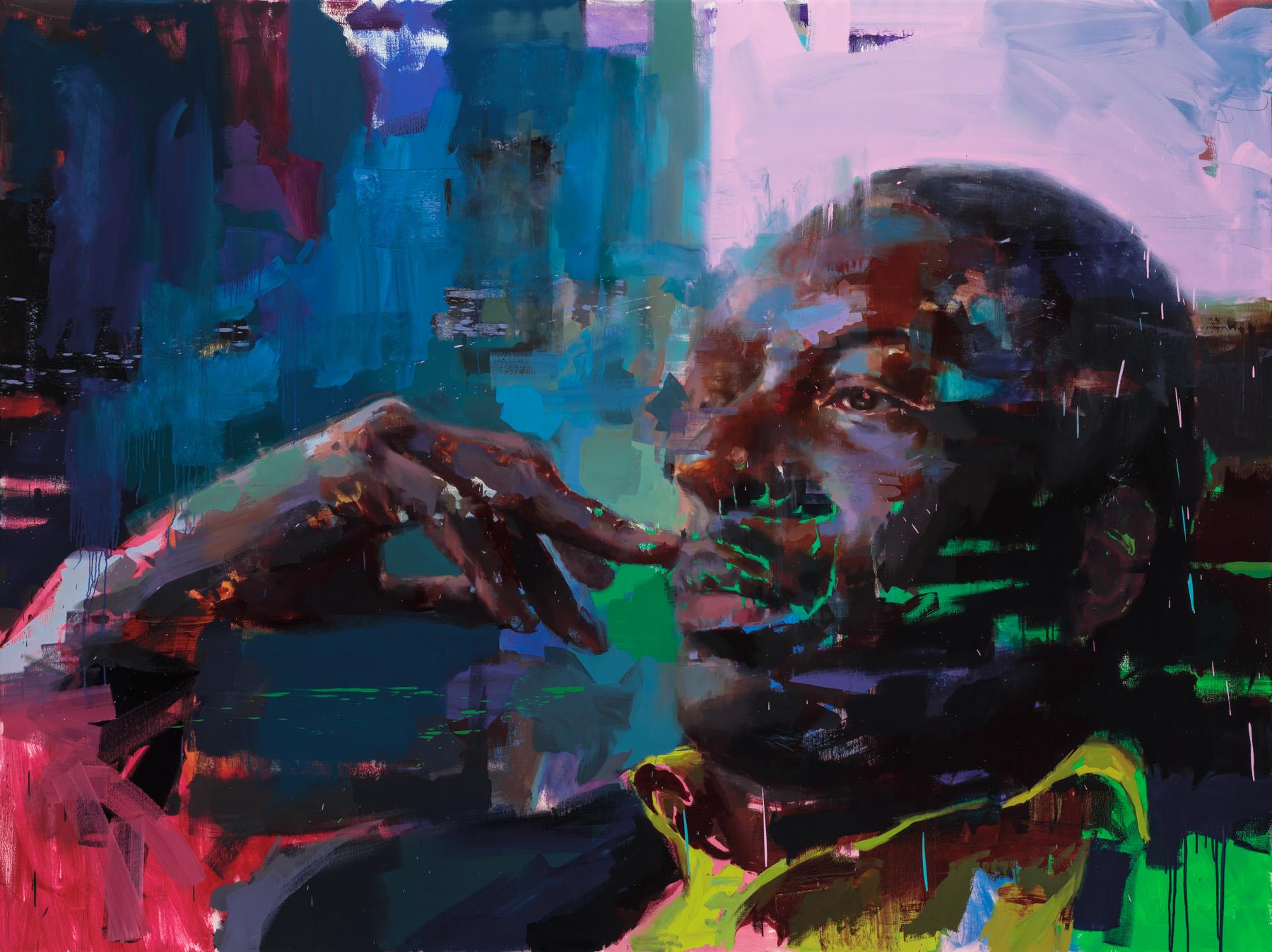 """ On a Misty Night""  Coltrane, 2018, 96"" x 72"" (244 x 183 cm), oil on linen."