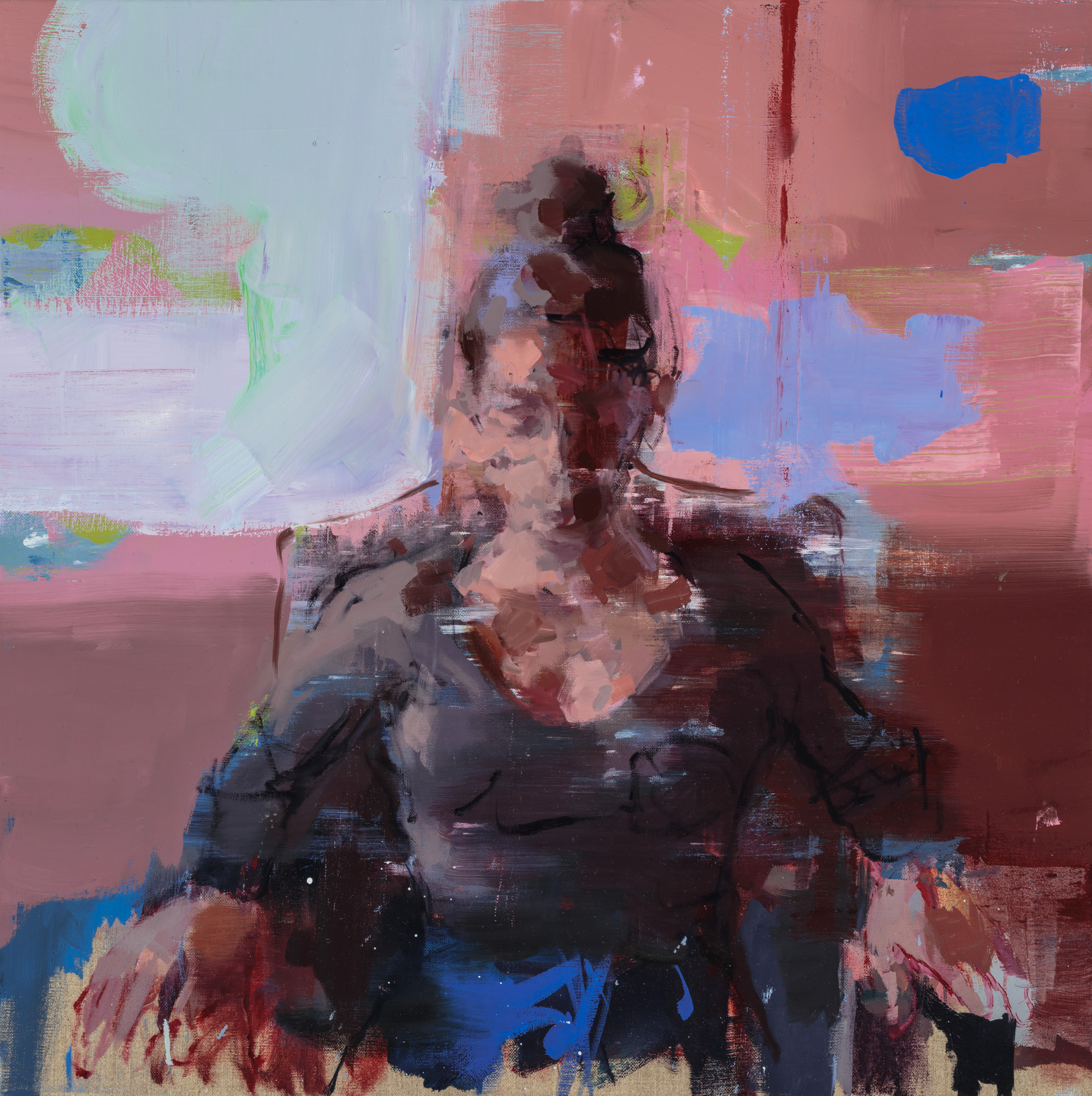 """"""" Upahar Sitting """"  2018, 24"""" x 24"""" (60 x 60 cm), oil on linen."""