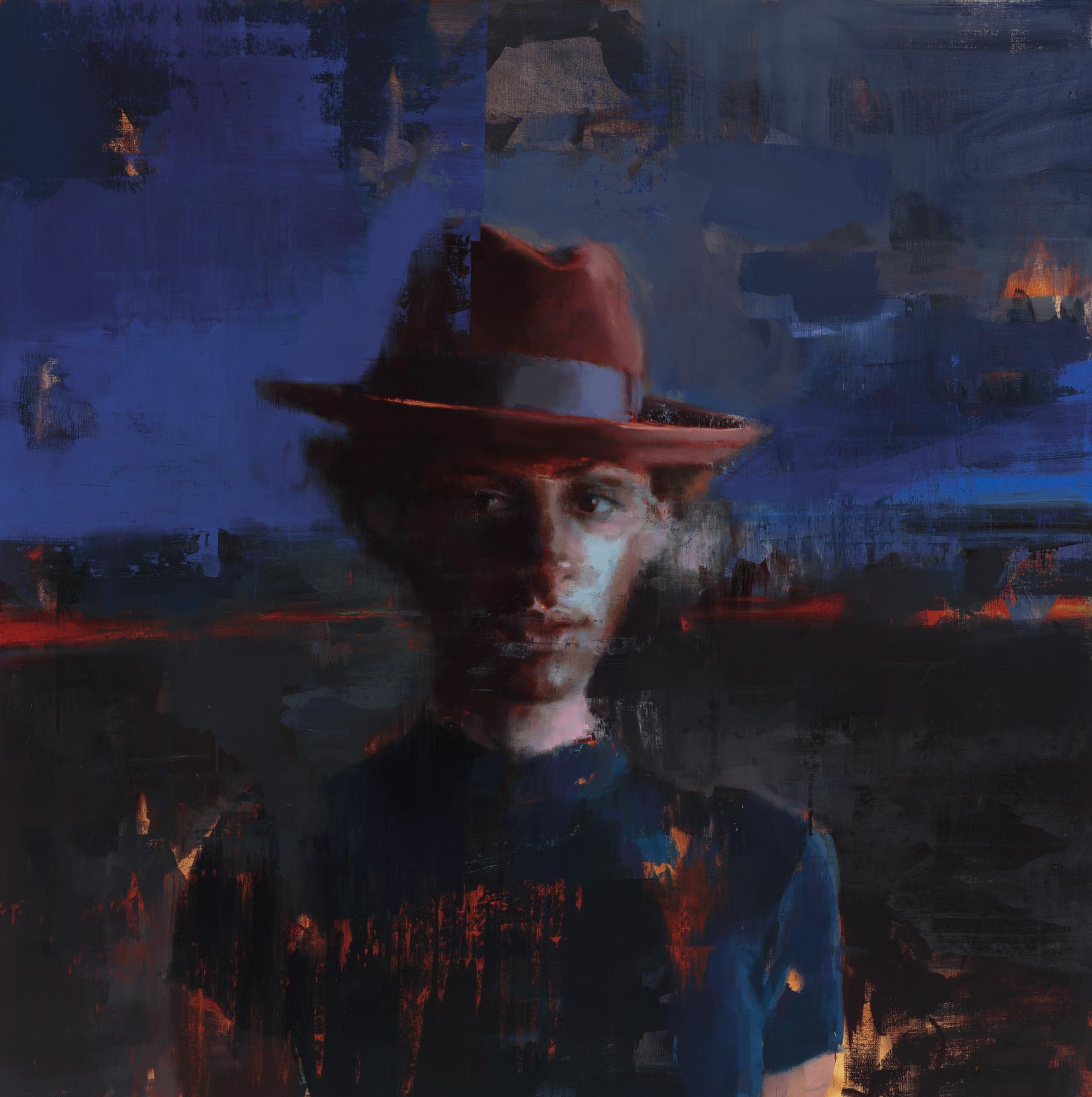 """ Delphine Somewhere""  2018, 59"" x 59"" (150 x 150 cm), oil on linen."