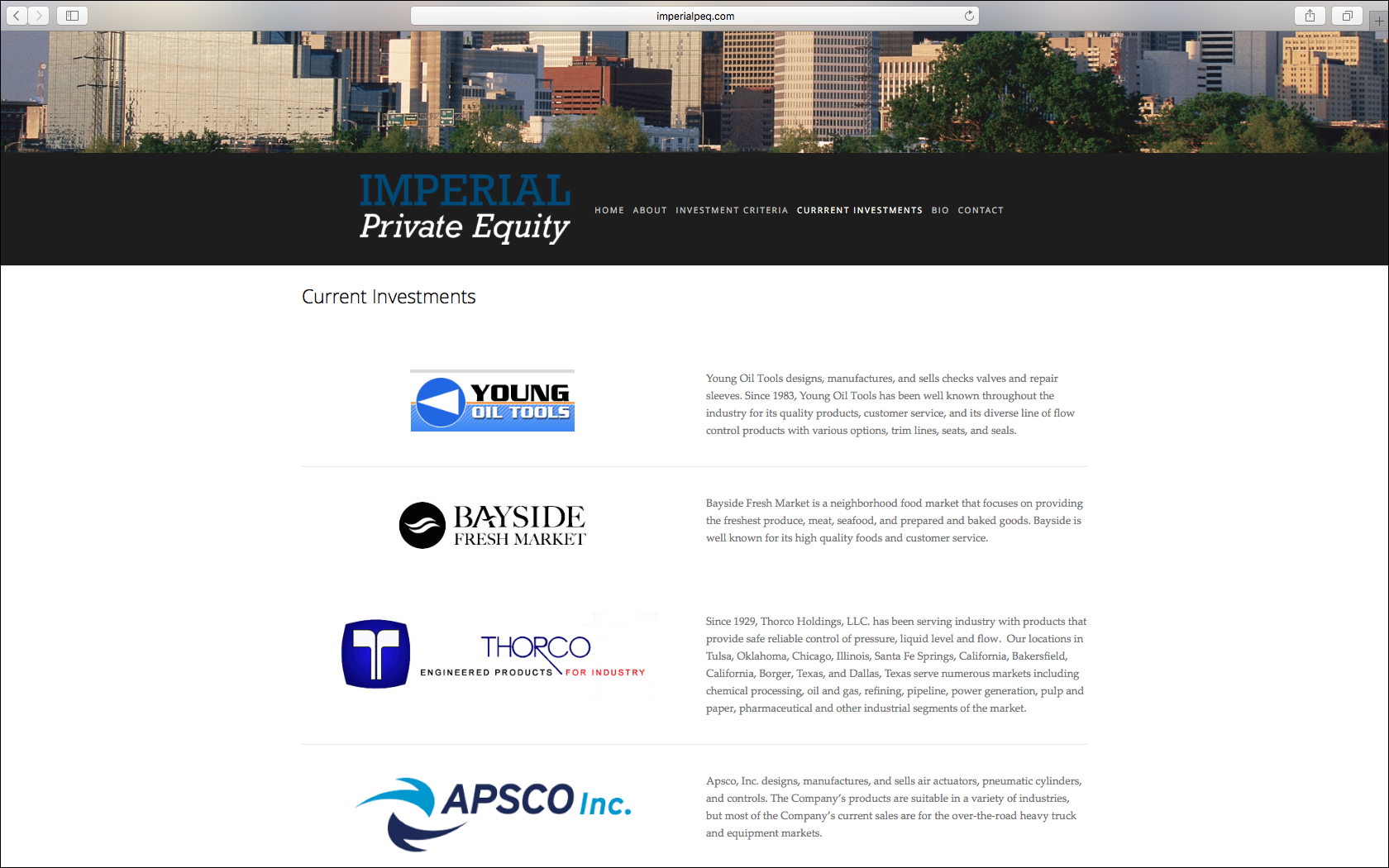 Imperial Private Equity Page Design - KLN Design