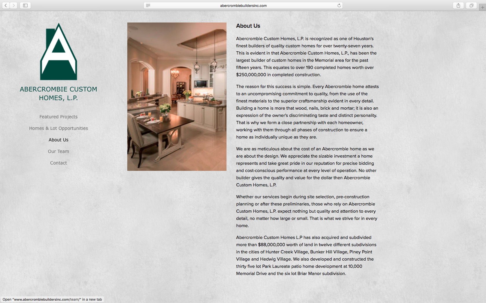 Abercrombie Builders Inc. About Page Design - KLN Design