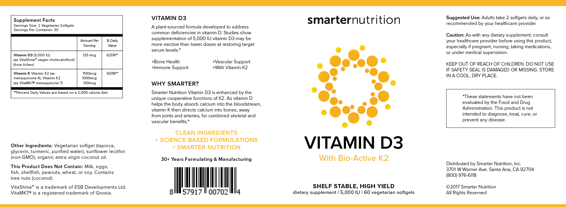 Smarter Nutrition Vitamin D3 Label Design - KLN Design