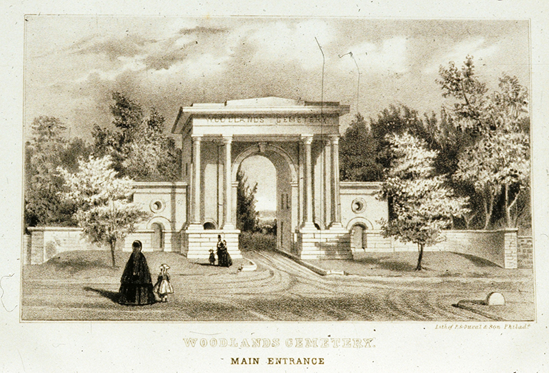 Print of the former gates to The Woodlands by James Fuller Queen (a Philadelphia lithographer), published by P.S. Duval and Son and used as the frontispiece in 1857 for The Charter, By-laws, and Regulations of the Woodlands Cemetery Company, with a List of Lot Holders.