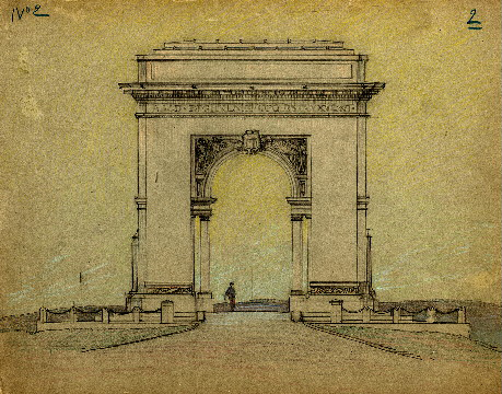 Washington Memorial Arch, Valley Forge  (Paul Philippe Cret, architect) Paul Philippe Cret Collection, Architectural Archives, University of Pennsylvania.