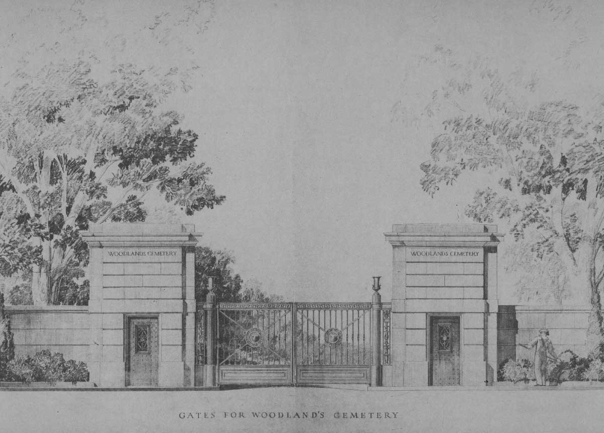 Woodlands Cemetery Gates  Cret Collection, Athenaeum of Philadelphia.