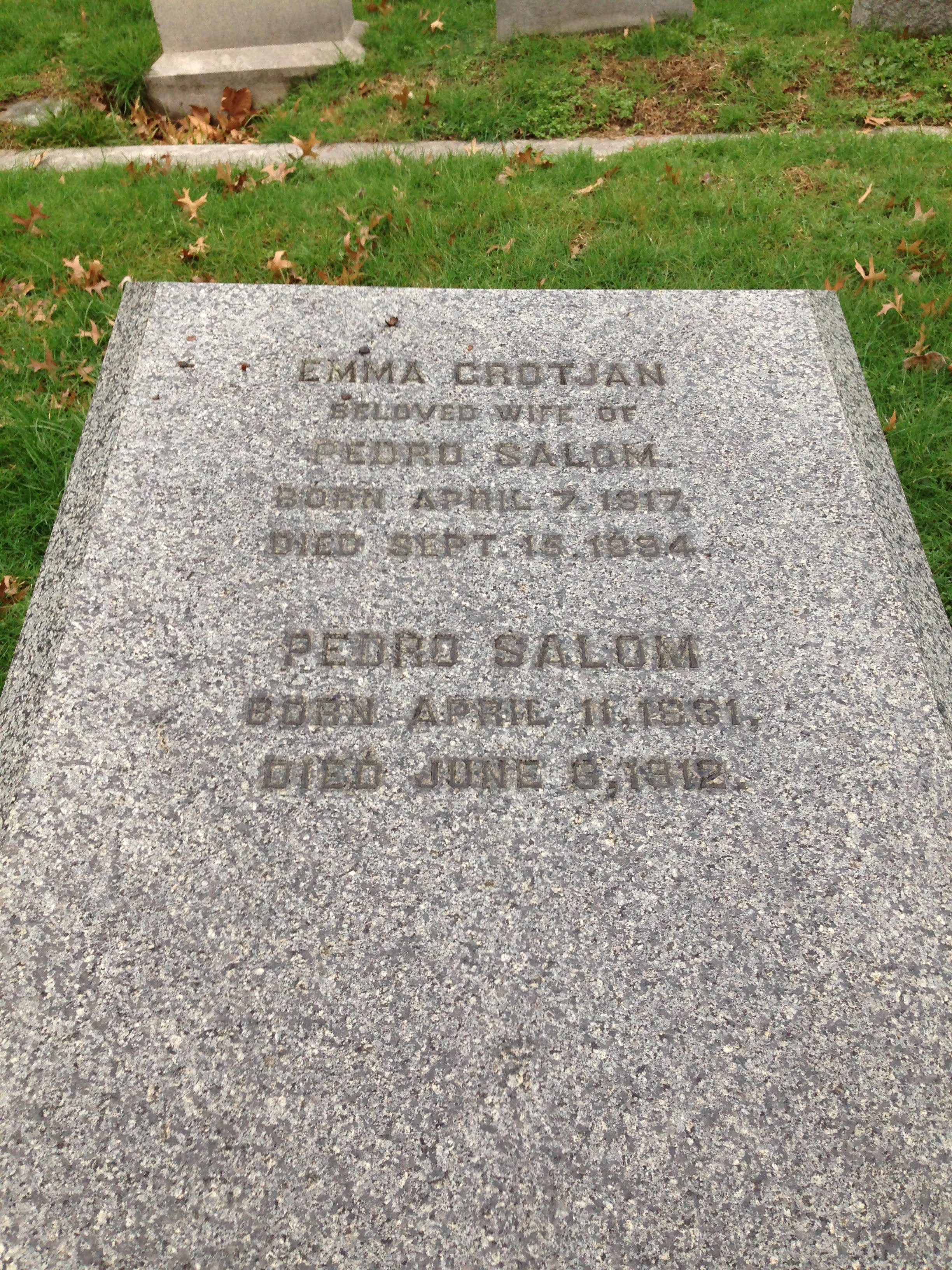 Pedro Salom, the inventor of the first battery powered car, is buried at The Woodlands.