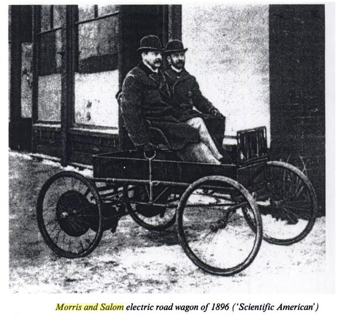 Salom and Morris in an early Electrobat (1896).