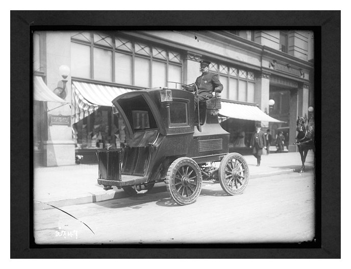 An Electrobat cab, ready to navigate the bustling streets of Manhattan.