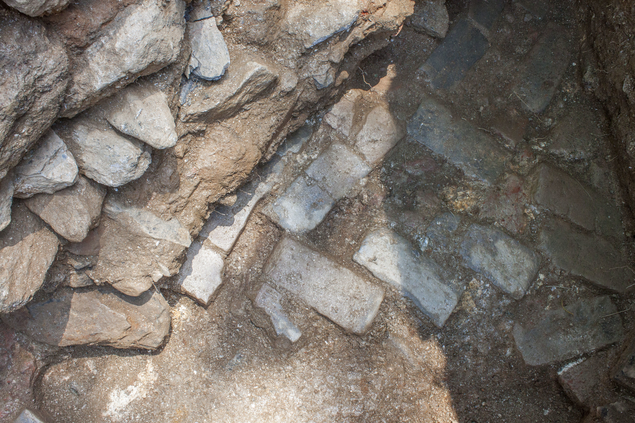 Detail of 18th century herringbone brick path.