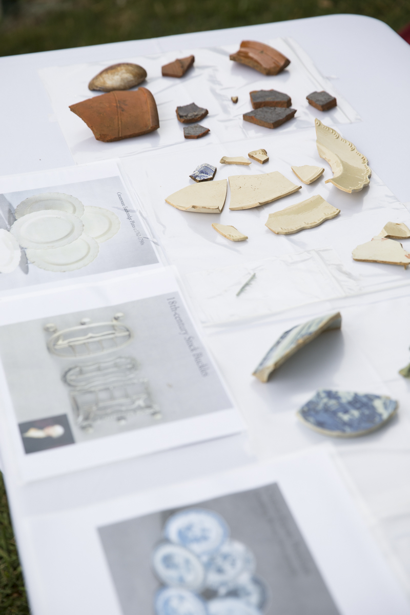 Artifacts found during excavation on display at The Woodlands annual benefit. Pictured from top: redware, 18th century creamware, and Chinese export porcelain.Photo:  Ryan Collerd