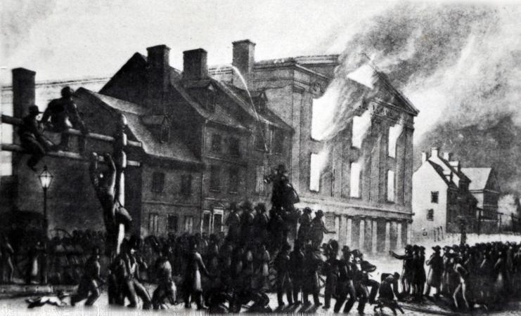 Depiction of  Pennsylvania Hall   which was burned to the ground by anti-black rioters on the night of May 17, 1838. The structure stood a mere three days before being burned down.
