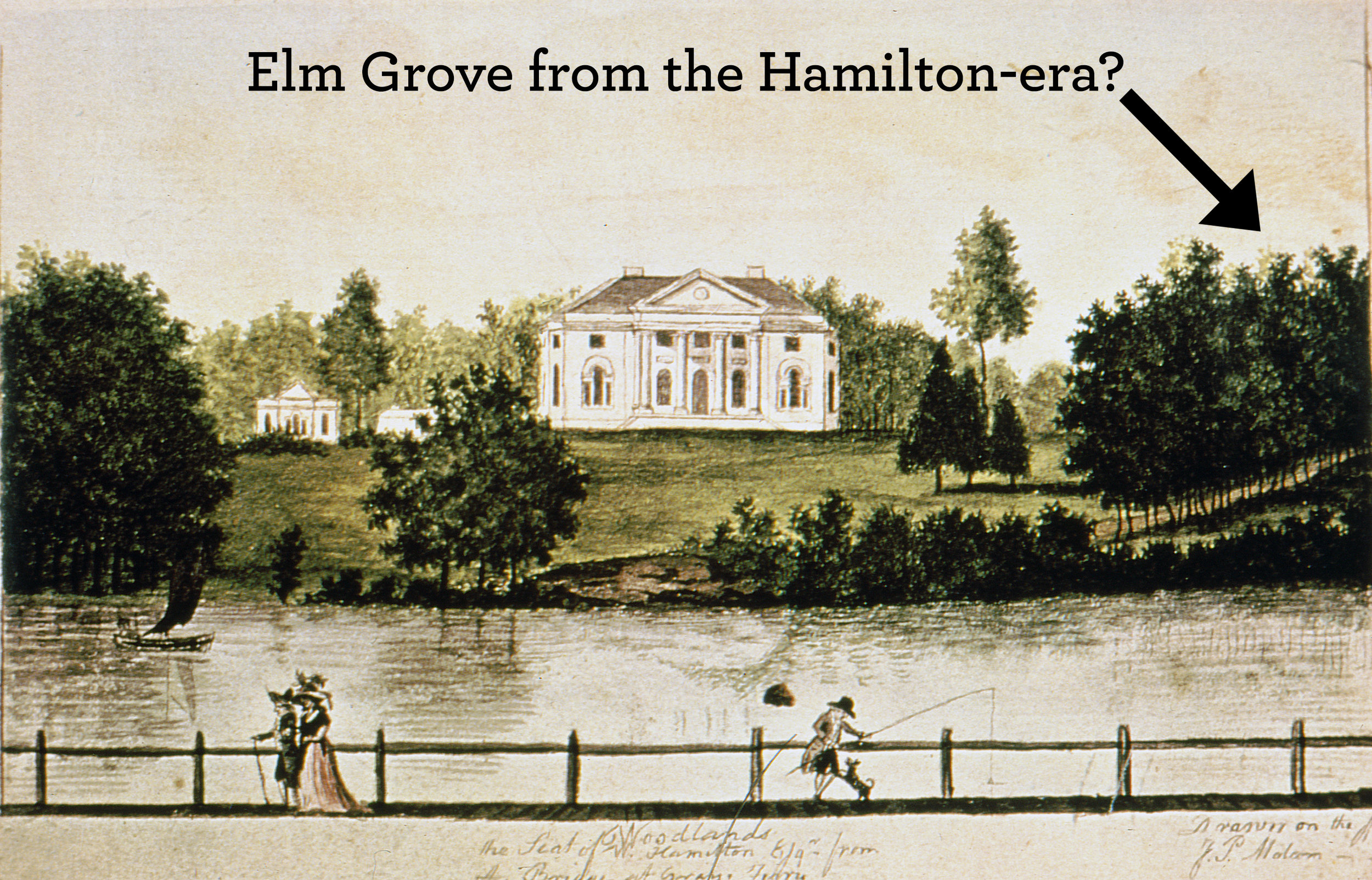 James Peller Malcom (1767-1815), Woodlands, the Seat of W. Hamilton Esq., from the Bridge at Grey's Ferry, ca. 1792. Watercolor and ink on paper, 3-1/2 x 6-1/2 in. Dietrich American Foundation Collection.