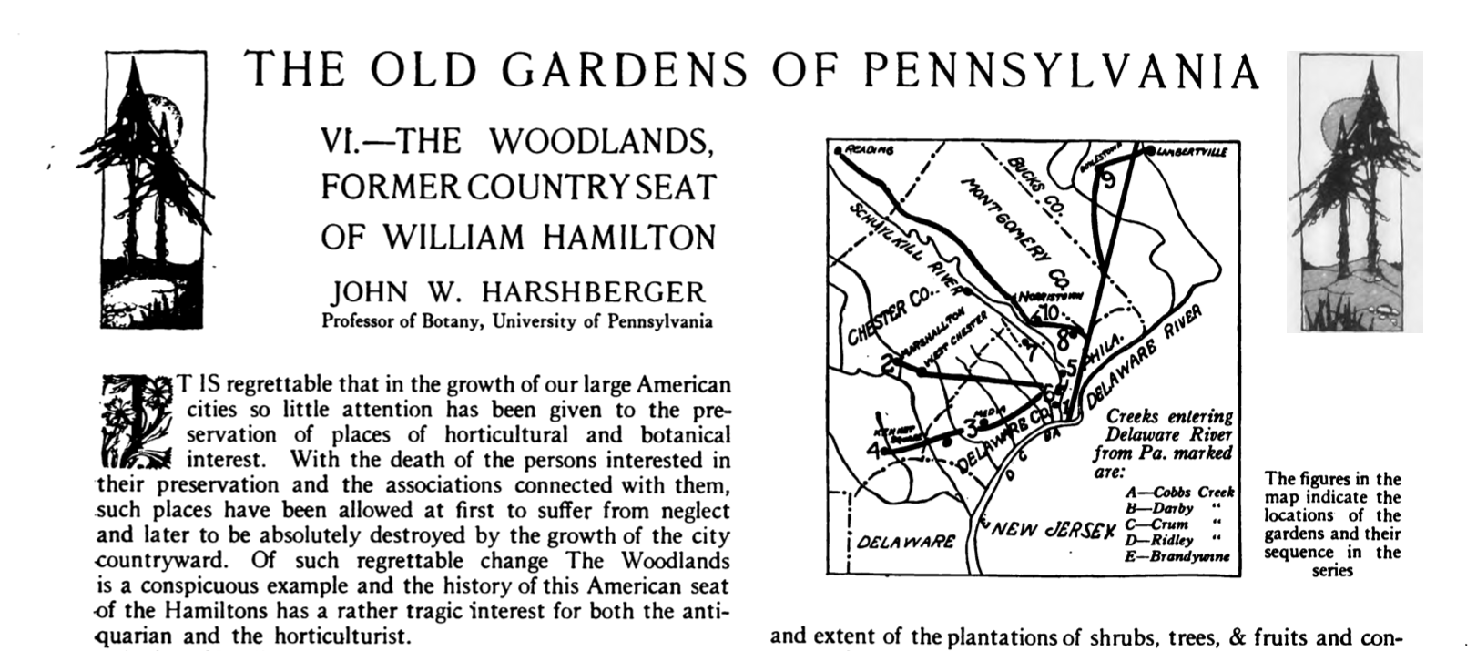 """John W. Harshberger, """"The Old Gardens of Pennsylvania. VI.—The Woodlands, Former Country Seat of William Hamilton,"""" The Garden Magazine, vol. 33, no. 2 (April 1921), p. 130-133. Read the full article here."""