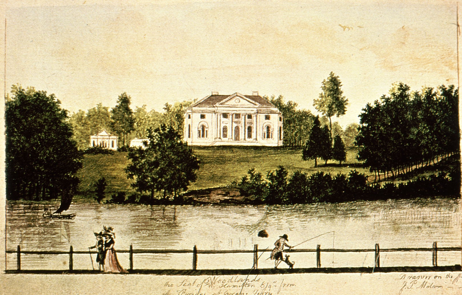 William Hamilton's mansion as seen from across the river depicted by James Peller Malcom ca. 1792. (Image: Dietrich American Foundation)