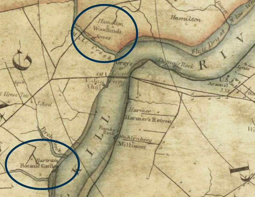 The Woodlands and Bartram's Garden shown on an 1808 map surveyed and published by John Hills. (Image: Philageohistory.org)