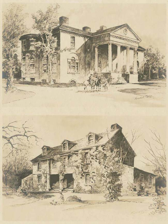 """An Illustration from Frank H. Taylor ca. 1922 showing the Woodlands mansion and John Bartram's house as examples of country mansions from """"a time when the unpolluted tide-water Schuylkill River was bordered by fine country seats."""" (Image: Library Company of Philadelphia)"""
