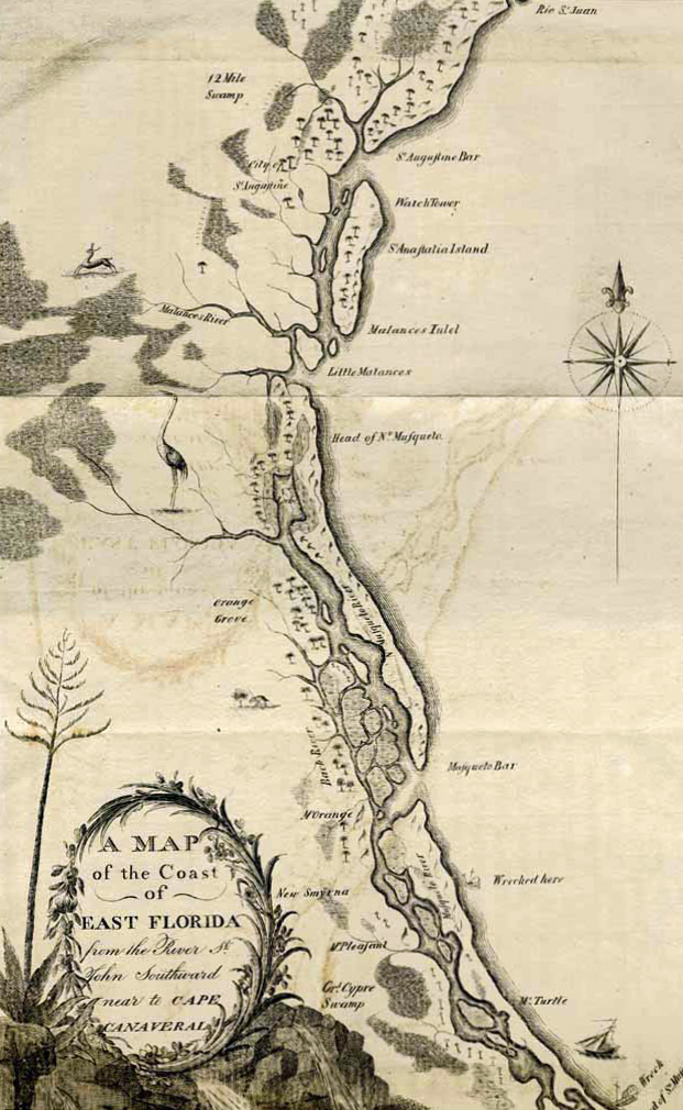 A Map of the Coast of East Florida drawn by William Bartram for  Travels. (Image: J ohn Bowman Bartram Special Collections Library)