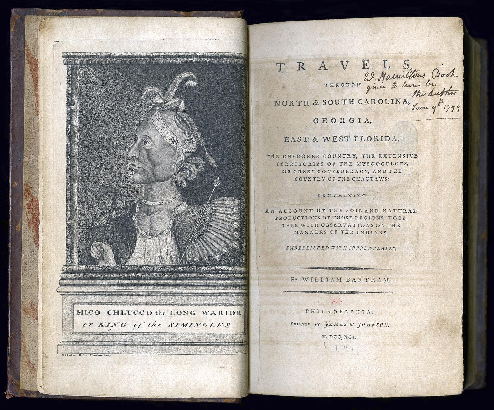 """""""W. Hamilton's Book given to him by the Author June 9th, 1799"""" is inscribed on the cover page. (Image courtesy of the Sterling Morton Library)"""