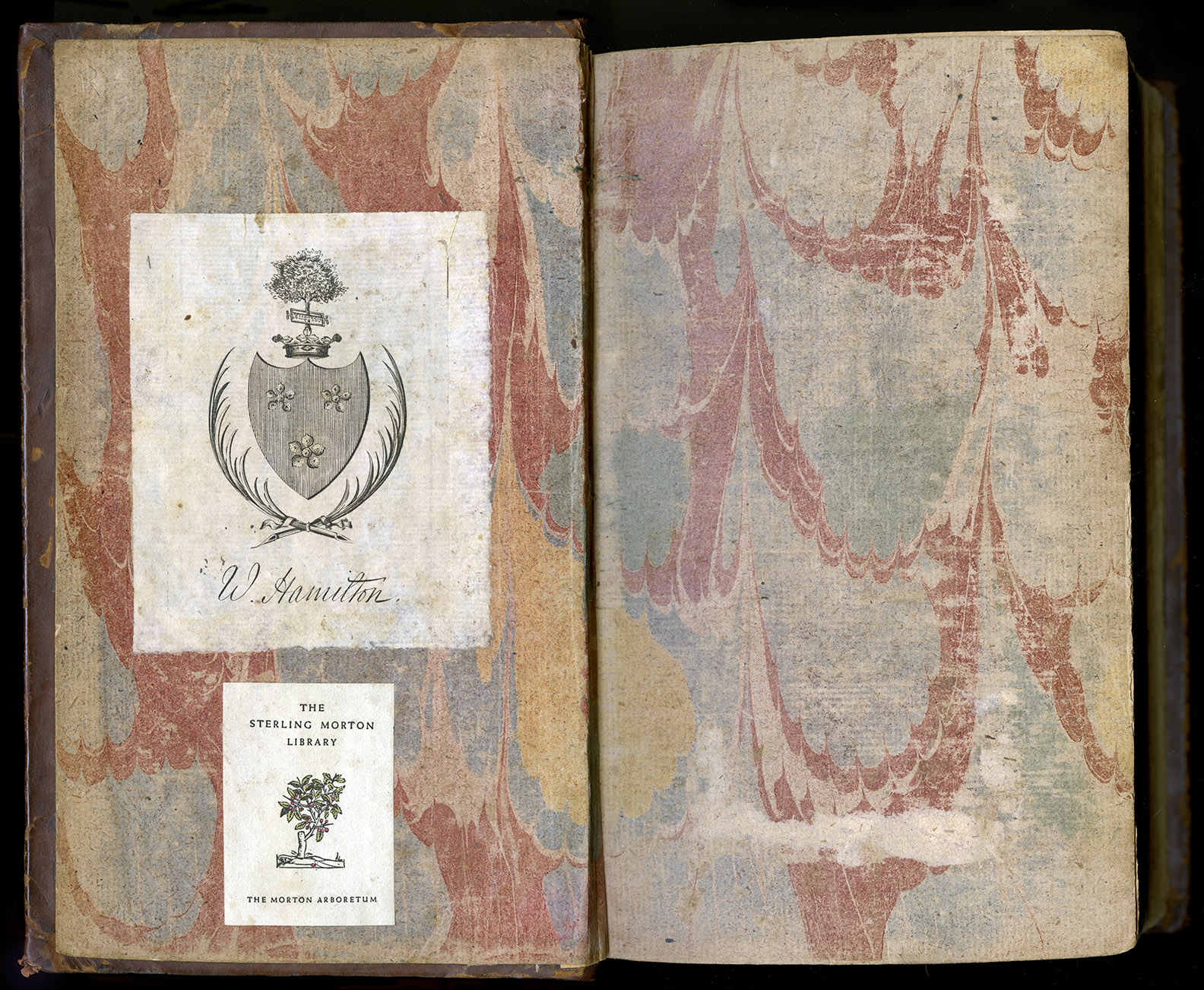"""William Hamilton's bookplate,engraved with the Hamilton family arms and """"W. Hamilton,"""" graces the inside cover of the copy of  Travels  held at Morton Arboretum.(Image courtesy of the Sterling Morton Library)"""