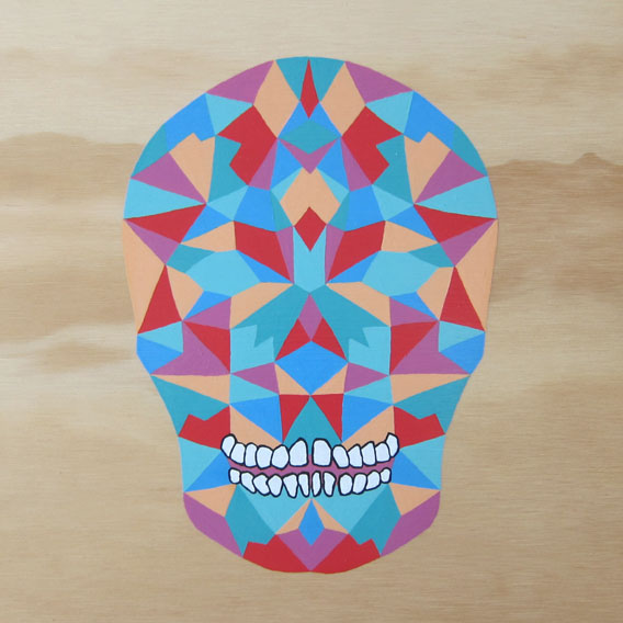 Rainbow Skull , 2013 Acrylic and Posca marker on plywood 235 x 235mm
