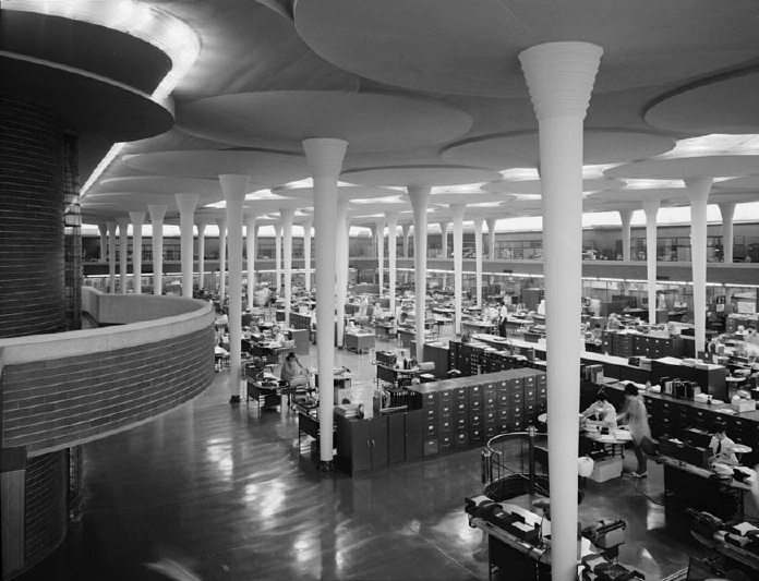 The Johnson Wax Headquarters (1936) by American architect Frank Lloyd Wright. An interesting fusion of open plan and cubicle.