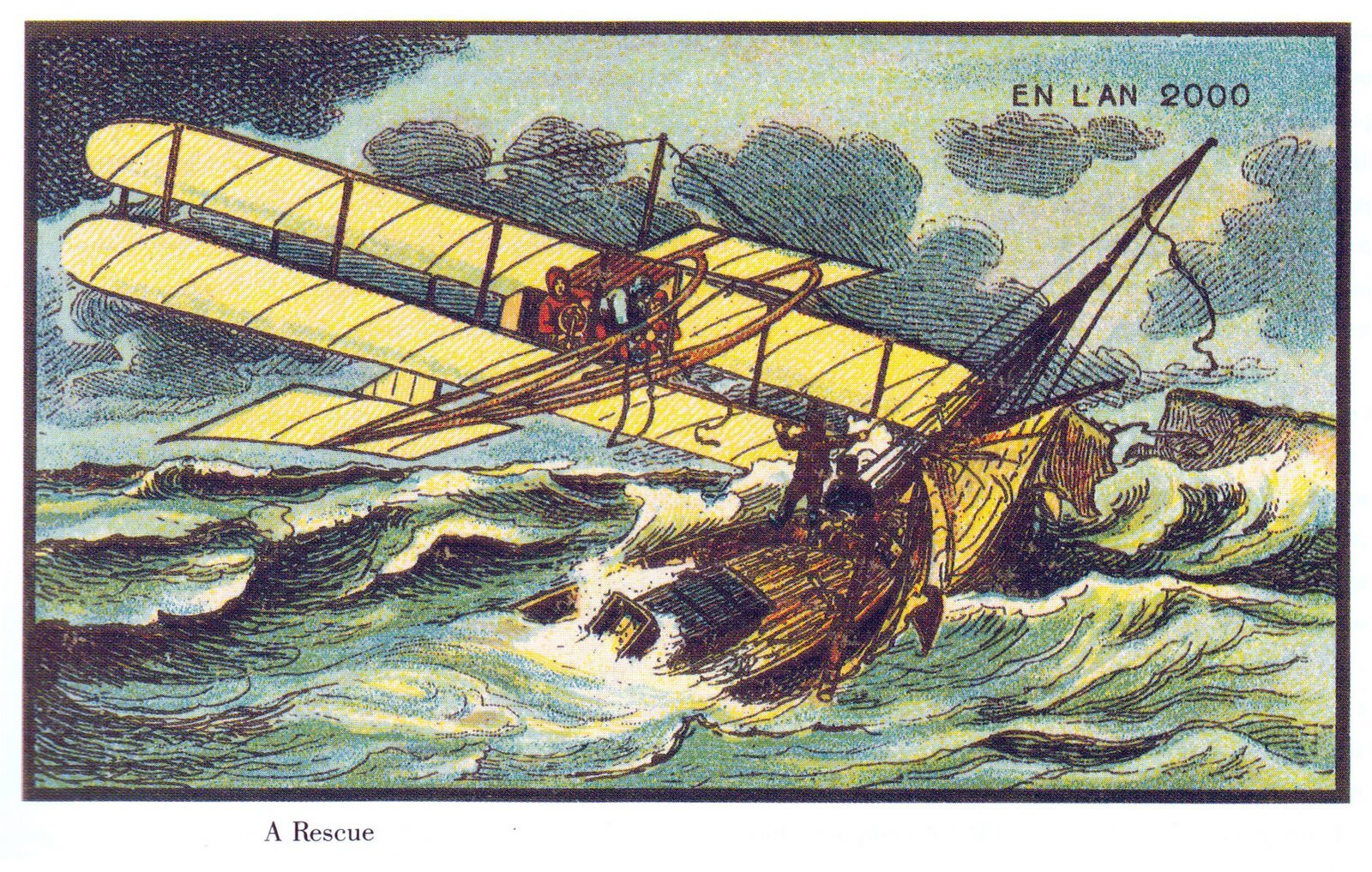 """""""A Rescue"""" is a wonderful, if impractical idea about rescue at sea. Depending on exactly when this card was drawn, the shape of the plane may have been inspired by the Wright Brother's first heavier-than-air flying machine, the Kitty Hawk."""