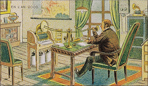 Voice dictation a hundred years or more before it became possible through early analogue / electric means. More than any other idea, it is an interesting repurposing of the equipment avaliable or just becoming available (phonograph, paper reels, phone)