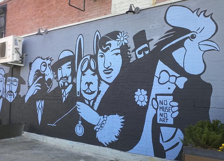 "2011 mural by Rah Crawford. Painted over in June 2014 with new ""Bushwick Bred"" mural by Rah Crawford"