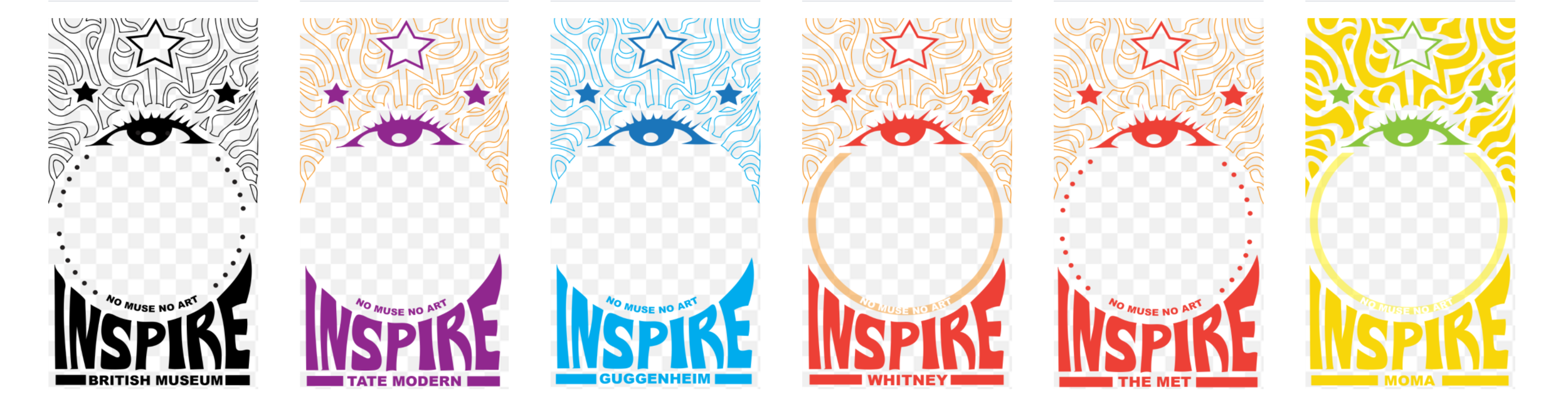 6 Geofilters created by Neo Pop Artist Rah Crawford which users can interact with during the Aug. 21st solar eclipse at: the Met, Moma, the Guggenheim, the Whitney, the British Museum and Tate Modern.