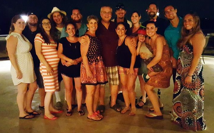 Mike and Stacy Atkinson with 6 out of their 8 kids with spouses