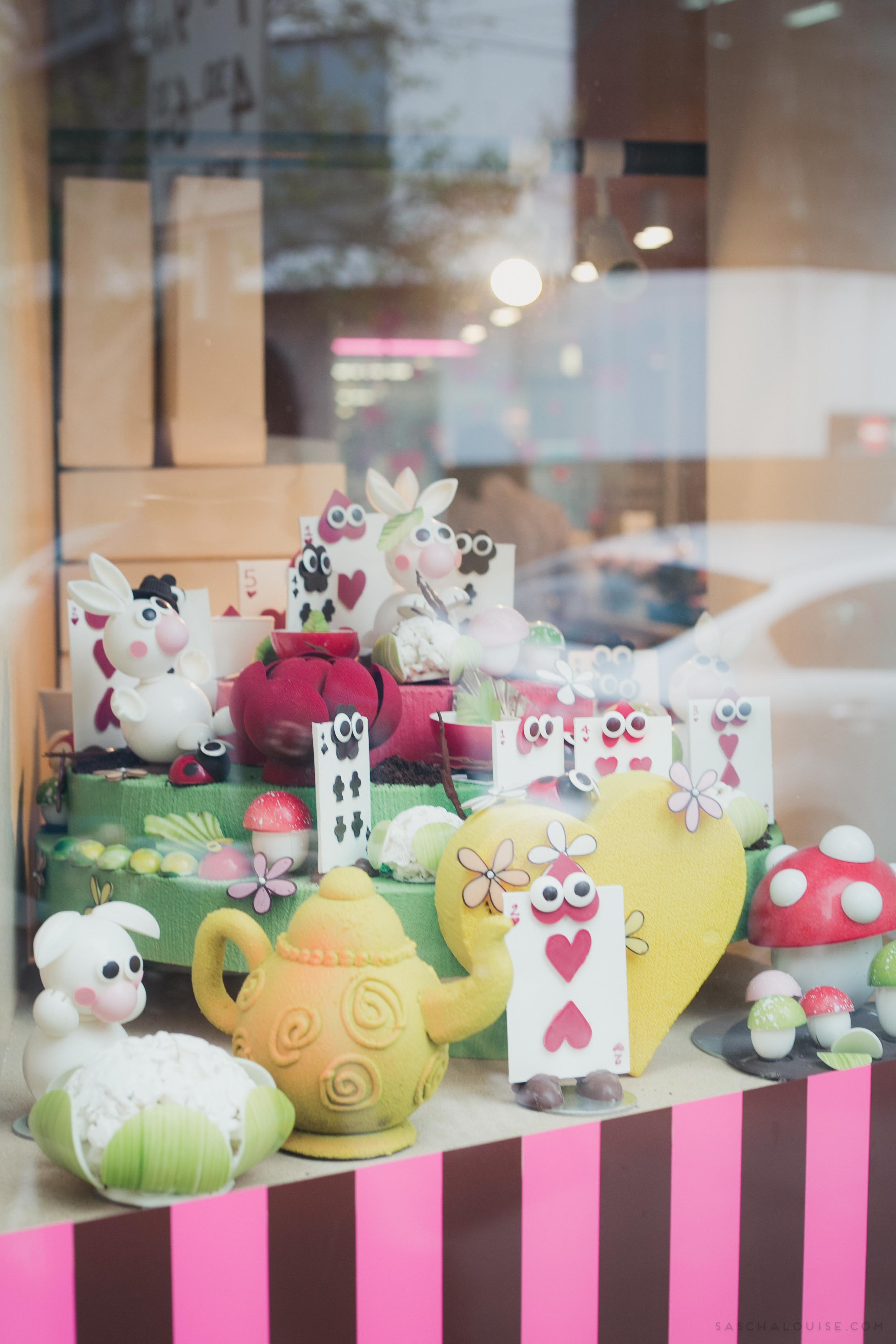 Alice in Wonderland window display, where everything is made from chocolate : Burch and Purchese