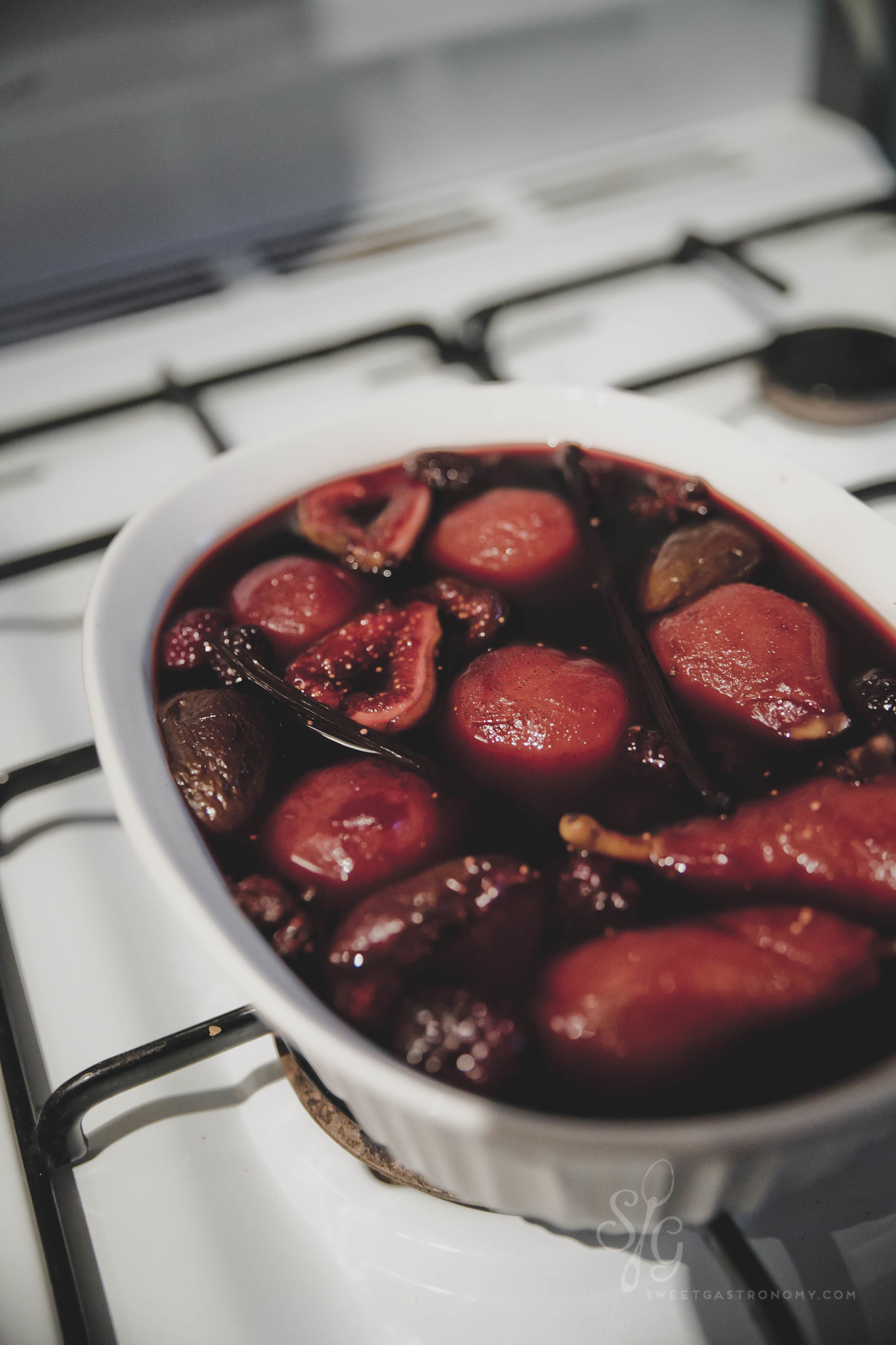 Poached! Leave in the fridge overnight to soak up more of the red wine liquid.
