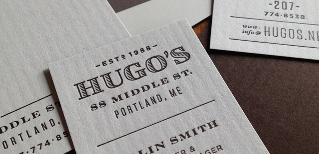 Printed materials are letterpress printed in one color on matching brown and natural white stock (Neenah Classic Columns).