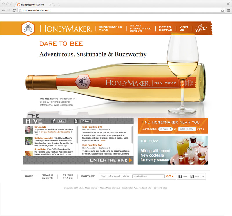 HoneyMaker website designed by brand design firm Might & Main
