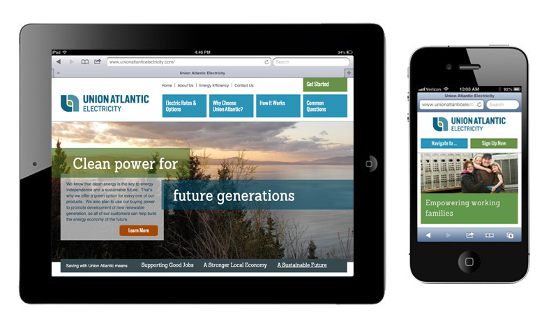 Union Atlantic Electricity website designed by brand design firm Might & Main