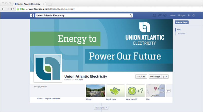 Union Atlantic Electricity Facebook designed by brand design firm Might & Main
