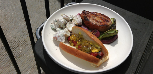 I may have gotten a little carried away today, but I wanted a pork chop AND a hot dog.