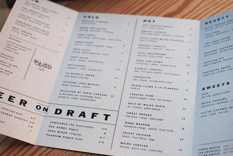 Interesting folds on standard sized paper create unusual form factors for menus.