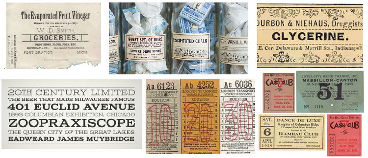 19th century apothecary labels, railroad tickets, and typography informed early concepts.