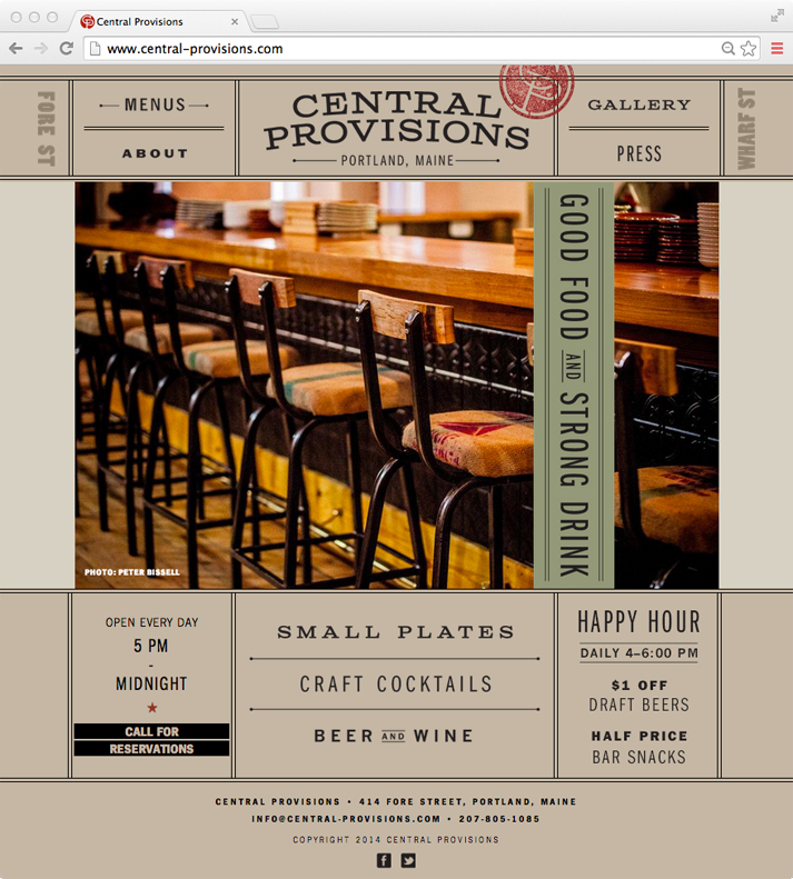 The responsive website was designed to match the visual language created for the printed collateral, while providing a framework for showcasing big, beautiful images of the food and space.