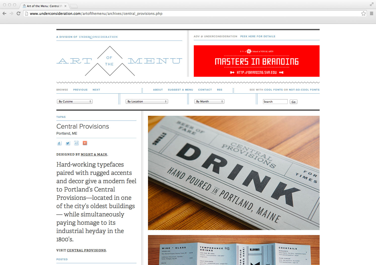 Central Provisions branding and menu design on UnderConsideration's Art of the Menu