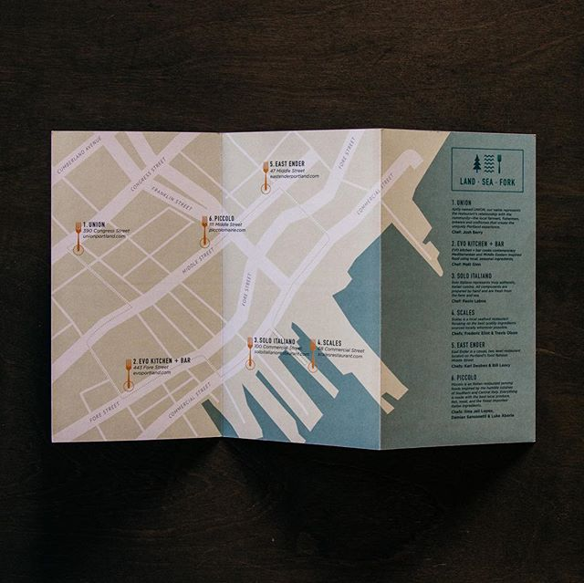 As @mainefoodforthought gears up for their 2019 season, we're taking a look back at some of the materials we designed for them last year.⠀ .⠀ #brandsmithery #design #maine #map