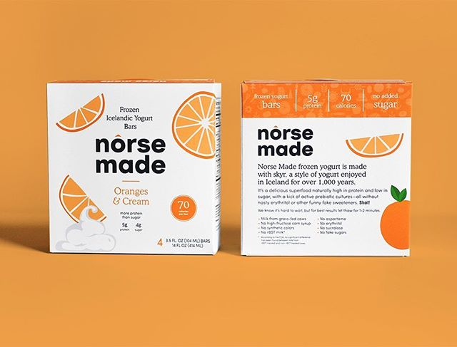 Norse Made frozen yogurt is made with skyr, a style of yogurt enjoyed in Iceland for over 1,000 years. Custom illustrations and packaging for five delicious flavors. ⠀ .⠀ #brandsmithery #packaging #branding